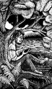 "From Ann Parker's print portfolio ""Getting to know Henry David Thoreau"
